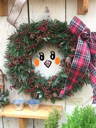 オニグルミ シナモン ローズヒップ ブナ モミ クリスマスリース めぐ.jpg