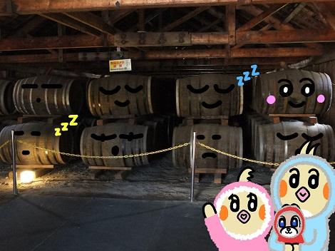ぐっすり眠っている樽(たる)をみているピヨめぐモカ.jpg